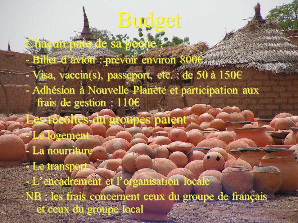 Budget Chacun paie de sa poche : Billet davion : prévoir environ 800 - Billet davion : prévoir environ 800 - Visa, vaccin(s), passeport, etc.