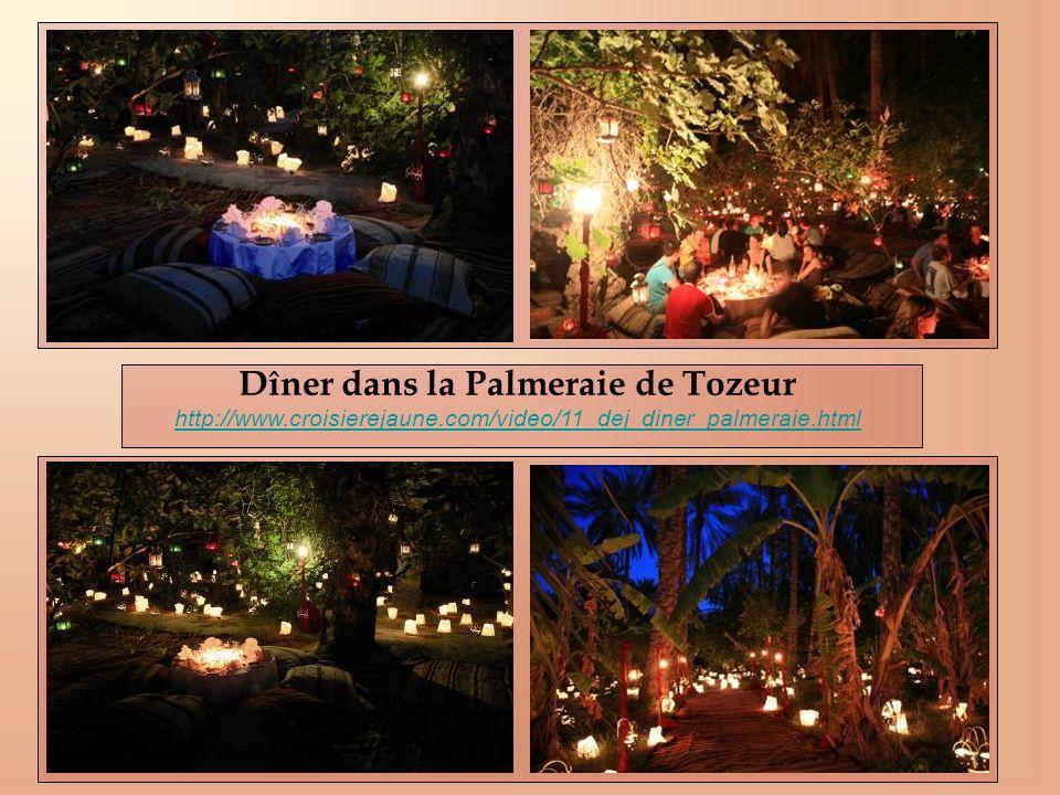 Dîner dans la Palmeraie de Tozeur http://www.croisierejaune.com/video/11_dej_diner_palmeraie.html