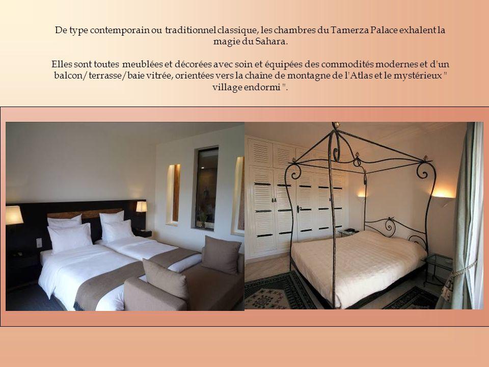 De type contemporain ou traditionnel classique, les chambres du Tamerza Palace exhalent la magie du Sahara. Elles sont toutes meublées et décorées ave