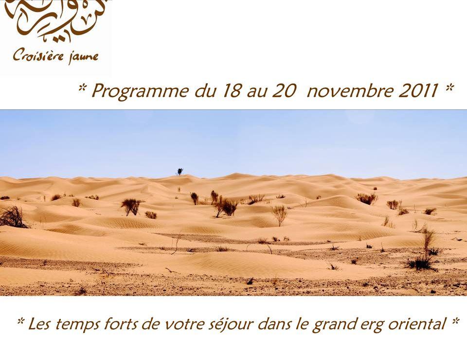 * Programme du 18 au 20 novembre 2011 * * Les temps forts de votre séjour dans le grand erg oriental *