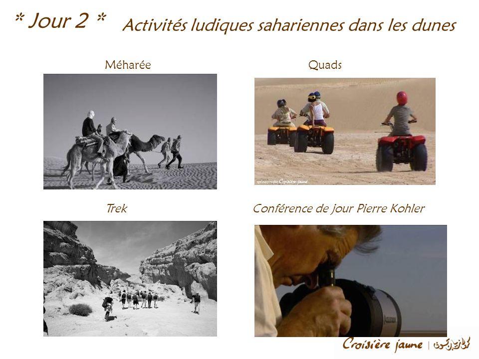 Activités ludiques sahariennes dans les dunes Méharée * Jour 2 * Quads TrekConférence de jour Pierre Kohler