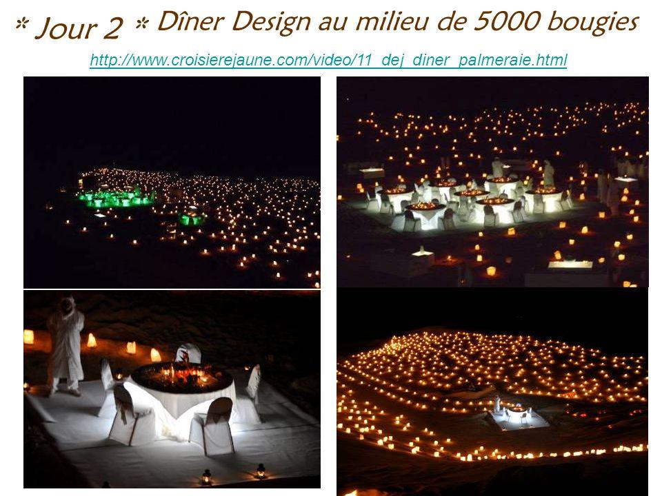 Dîner Design au milieu de 5000 bougies * Jour 2 * http://www.croisierejaune.com/video/11_dej_diner_palmeraie.html