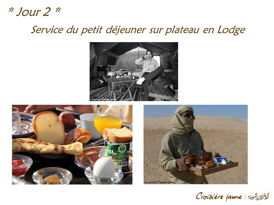 Service du petit déjeuner sur plateau en Lodge * Jour 2 *