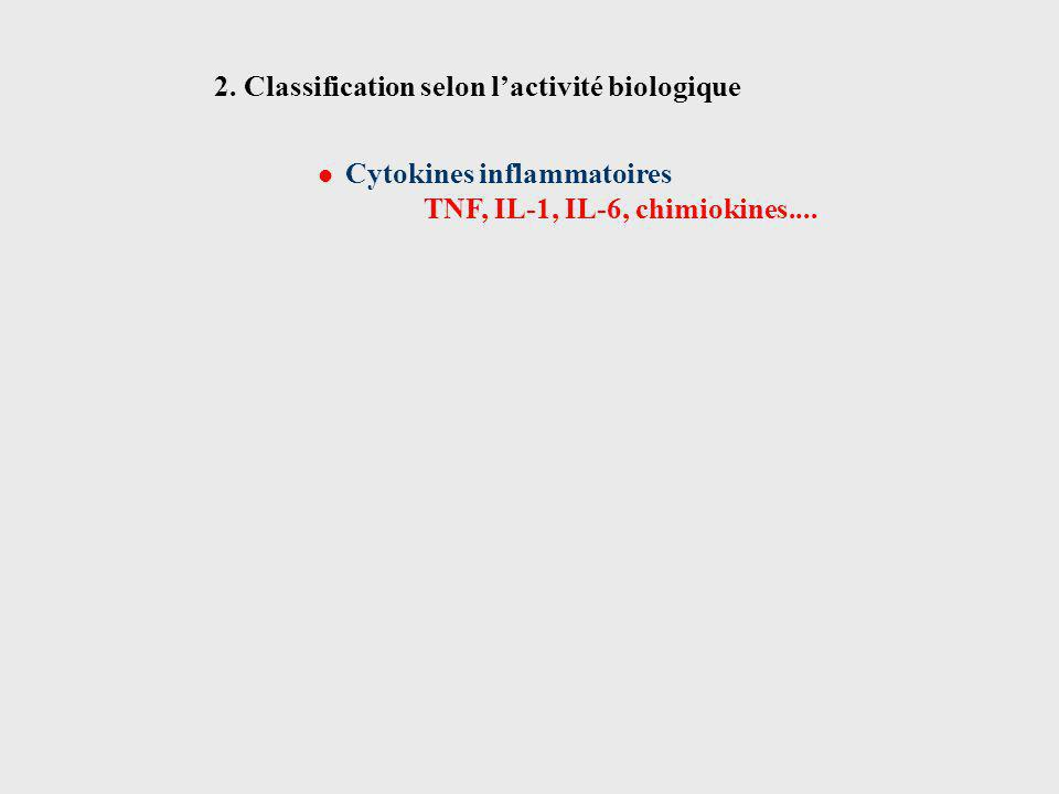 Cytokines inflammatoires TNF, IL-1, IL-6, chimiokines.... 2. Classification selon lactivité biologique