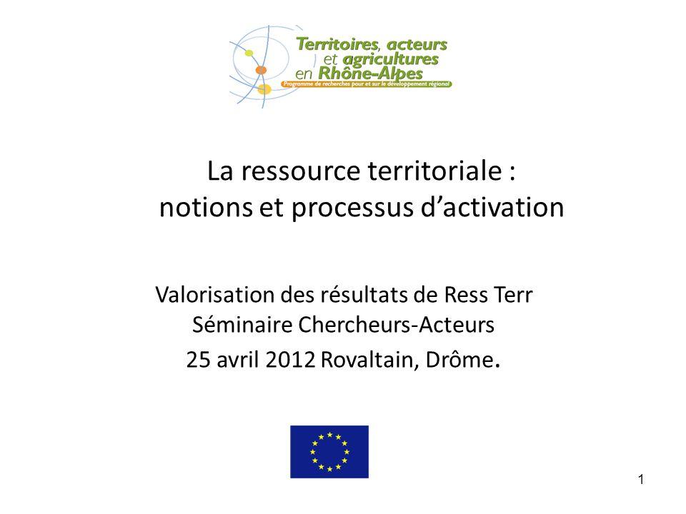 1 La ressource territoriale : notions et processus dactivation Valorisation des résultats de Ress Terr Séminaire Chercheurs-Acteurs 25 avril 2012 Rova