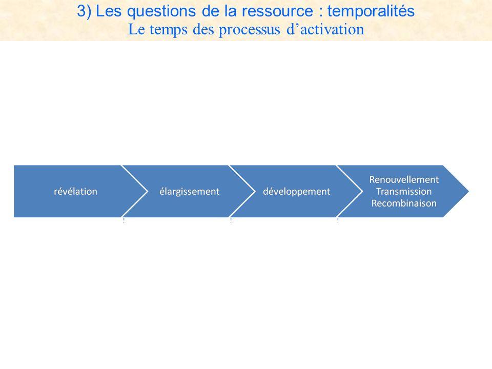 3) Les questions de la ressource : temporalités Le temps des processus dactivation