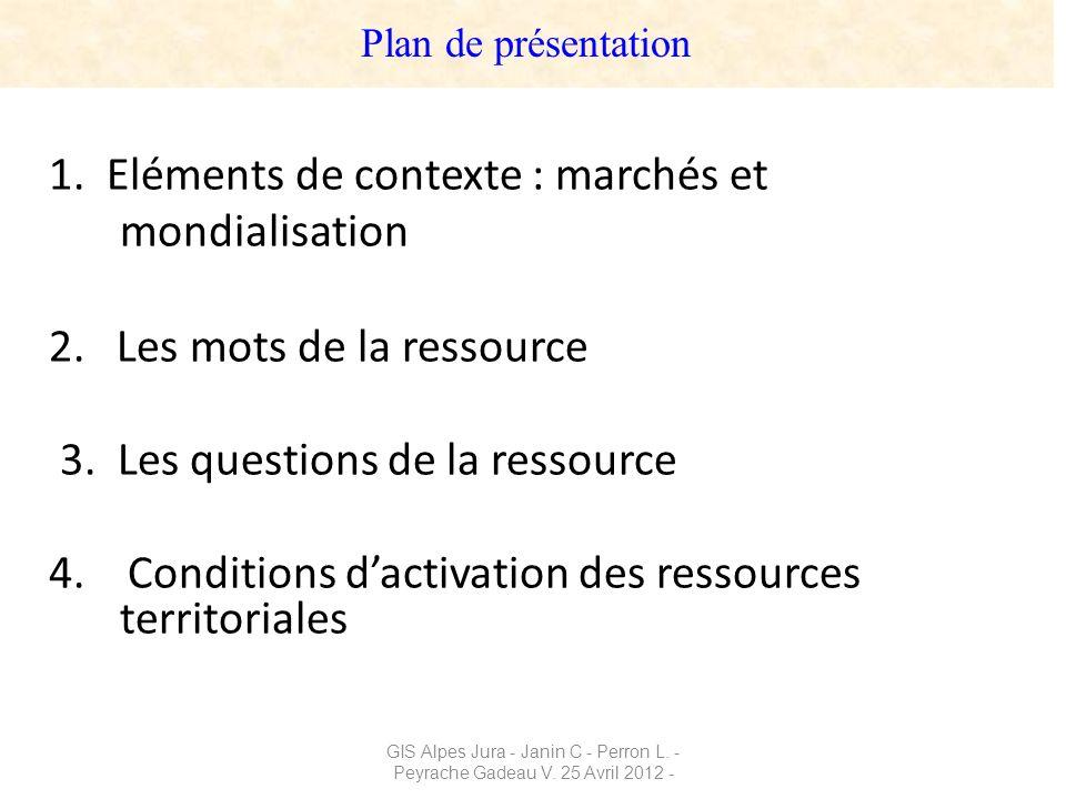 GIS Alpes Jura - Janin C - Perron L. - Peyrache Gadeau V. 25 Avril 2012 - 1. Eléments de contexte : marchés et mondialisation 2. Les mots de la ressou