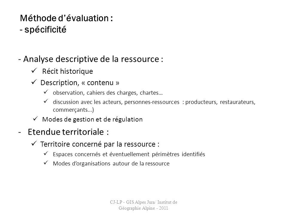- Analyse descriptive de la ressource : Récit historique Description, « contenu » observation, cahiers des charges, chartes… discussion avec les acteu