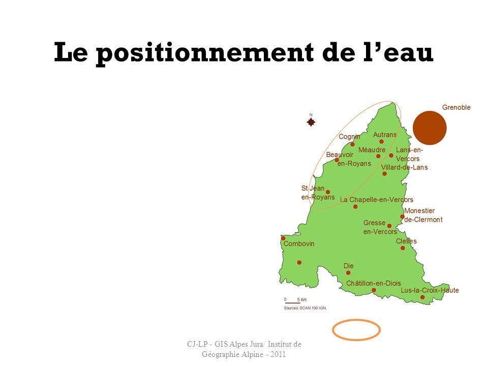 Le positionnement de leau Appropriation par les acteurs EuropeAlpesVercors Localisation de la ressource « eau » CJ-LP - GIS Alpes Jura/ Institut de Gé