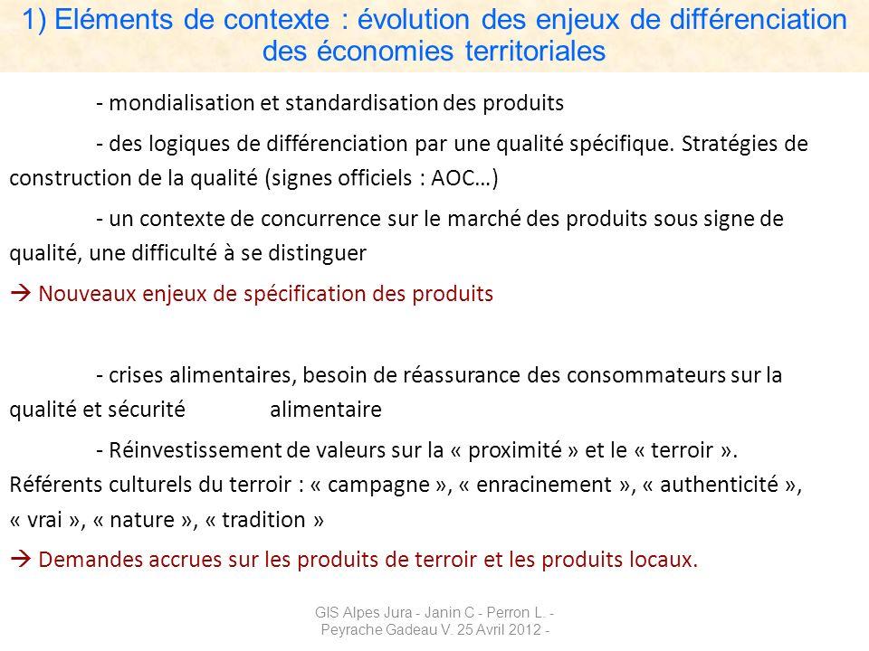 GIS Alpes Jura - Janin C - Perron L. - Peyrache Gadeau V. 25 Avril 2012 - - mondialisation et standardisation des produits - des logiques de différenc