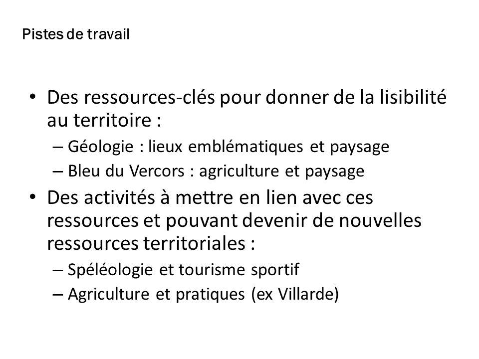 Des ressources-clés pour donner de la lisibilité au territoire : – Géologie : lieux emblématiques et paysage – Bleu du Vercors : agriculture et paysag
