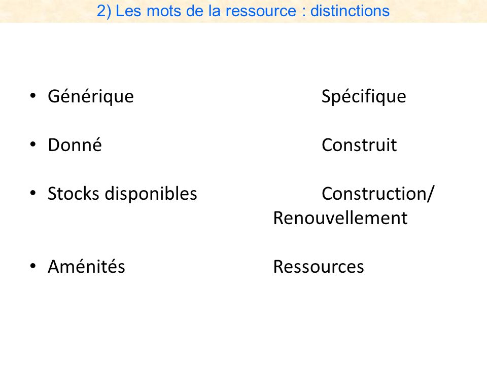 2) Les mots de la ressource : distinctions GénériqueSpécifique DonnéConstruit Stocks disponiblesConstruction/ Renouvellement AménitésRessources