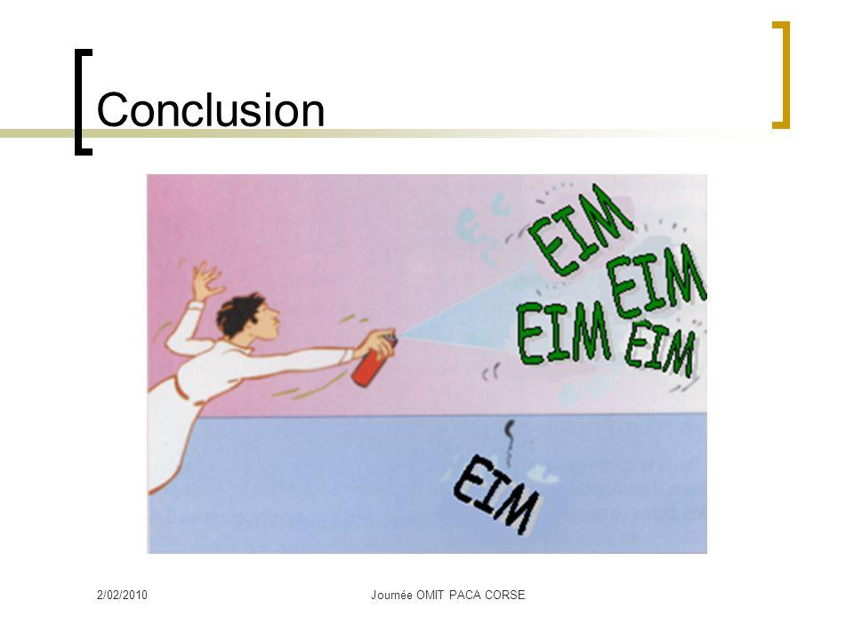 Conclusion 2/02/2010Journée OMIT PACA CORSE
