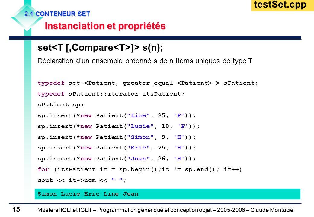 Masters IIGLI et IGLII – Programmation générique et conception objet – 2005-2006 – Claude Montacié 15 2.1 CONTENEUR SET Instanciation et propriétés In