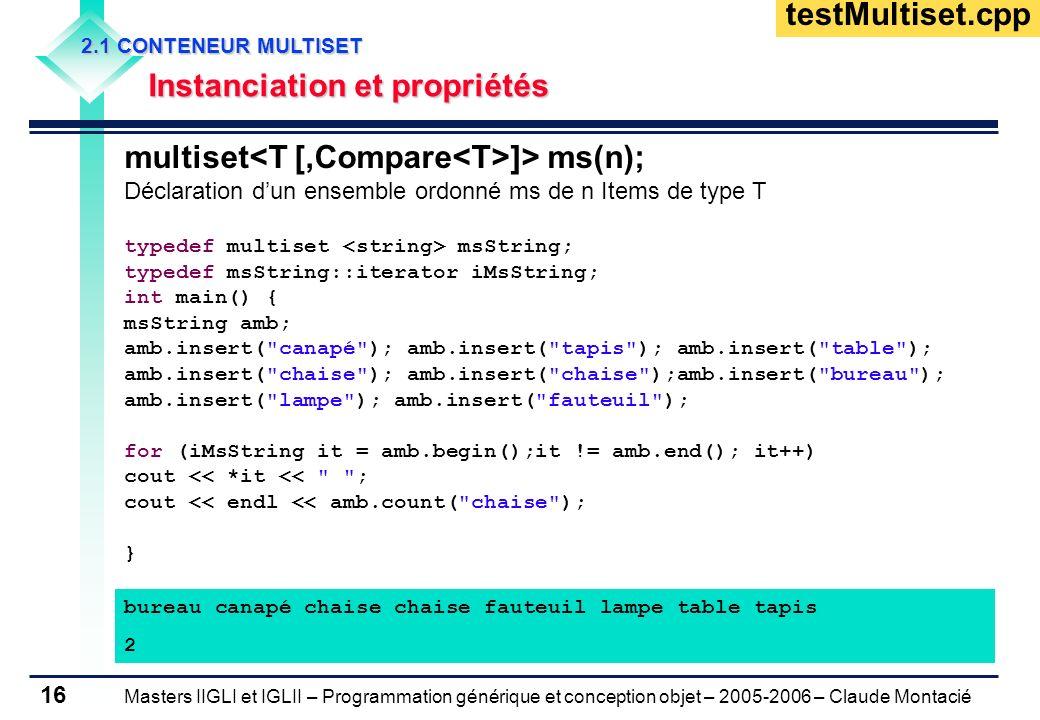 Masters IIGLI et IGLII – Programmation générique et conception objet – 2005-2006 – Claude Montacié 16 2.1 CONTENEUR MULTISET Instanciation et propriét