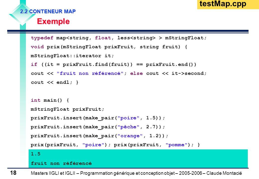 Masters IIGLI et IGLII – Programmation générique et conception objet – 2005-2006 – Claude Montacié 18 2.2 CONTENEUR MAP Exemple Exemple typedef map >