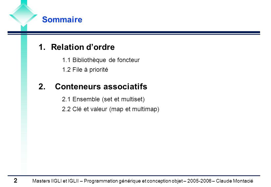 Masters IIGLI et IGLII – Programmation générique et conception objet – 2005-2006 – Claude Montacié 2 1.Relation dordre 1.1 Bibliothèque de foncteur 1.