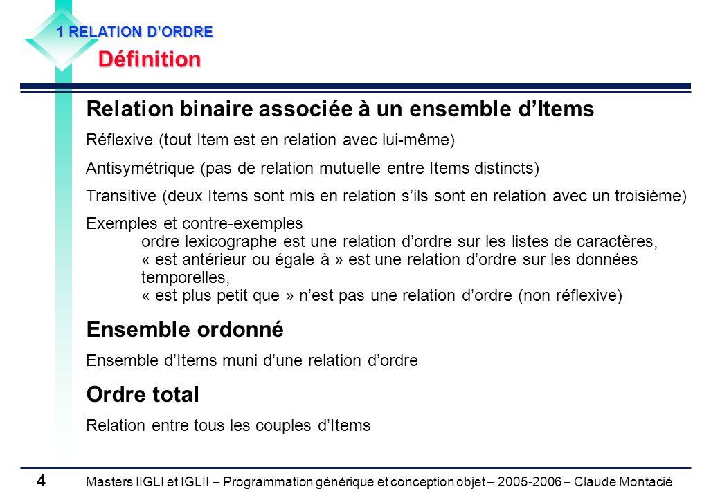 Masters IIGLI et IGLII – Programmation générique et conception objet – 2005-2006 – Claude Montacié 4 1 RELATION DORDRE Définition Relation binaire ass