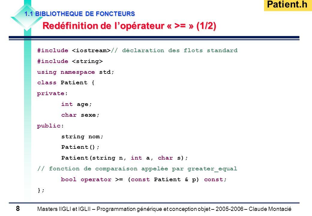 Masters IIGLI et IGLII – Programmation générique et conception objet – 2005-2006 – Claude Montacié 8 1.1 BIBLIOTHEQUE DE FONCTEURS Redéfinition de lop