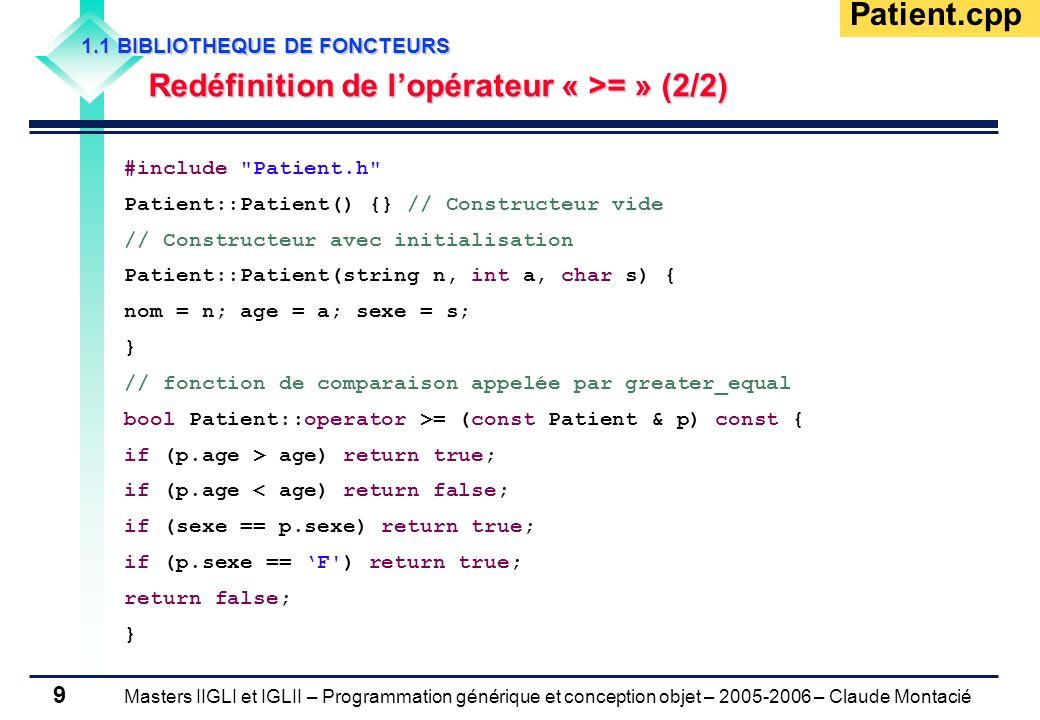 Masters IIGLI et IGLII – Programmation générique et conception objet – 2005-2006 – Claude Montacié 9 1.1 BIBLIOTHEQUE DE FONCTEURS Redéfinition de lop