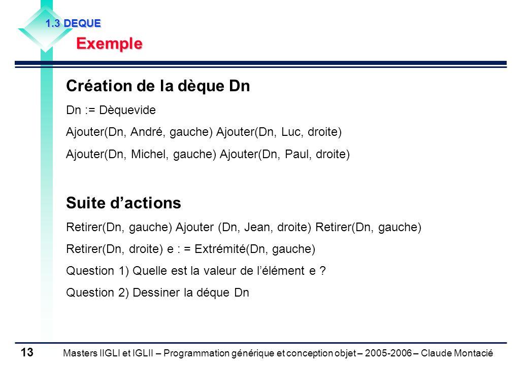 Masters IIGLI et IGLII – Programmation générique et conception objet – 2005-2006 – Claude Montacié 13 1.3 DEQUE Exemple Création de la dèque Dn Dn := Dèquevide Ajouter(Dn, André, gauche) Ajouter(Dn, Luc, droite) Ajouter(Dn, Michel, gauche) Ajouter(Dn, Paul, droite) Suite dactions Retirer(Dn, gauche) Ajouter (Dn, Jean, droite) Retirer(Dn, gauche) Retirer(Dn, droite) e : = Extrémité(Dn, gauche) Question 1) Quelle est la valeur de lélément e .