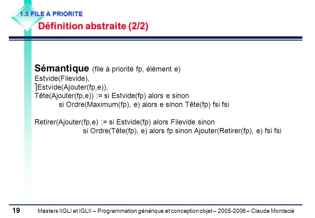 Masters IIGLI et IGLII – Programmation générique et conception objet – 2005-2006 – Claude Montacié 19 1.5 FILE A PRIORITE Définition abstraite (2/2) Sémantique (file à priorité fp, élément e) Estvide(Filevide), Estvide(Ajouter(fp,e)), Tête(Ajouter(fp,e)) := si Estvide(fp) alors e sinon si Ordre(Maximum(fp), e) alors e sinon Tête(fp) fsi fsi Retirer(Ajouter(fp,e) := si Estvide(fp) alors Filevide sinon si Ordre(Tête(fp), e) alors fp sinon Ajouter(Retirer(fp), e) fsi fsi