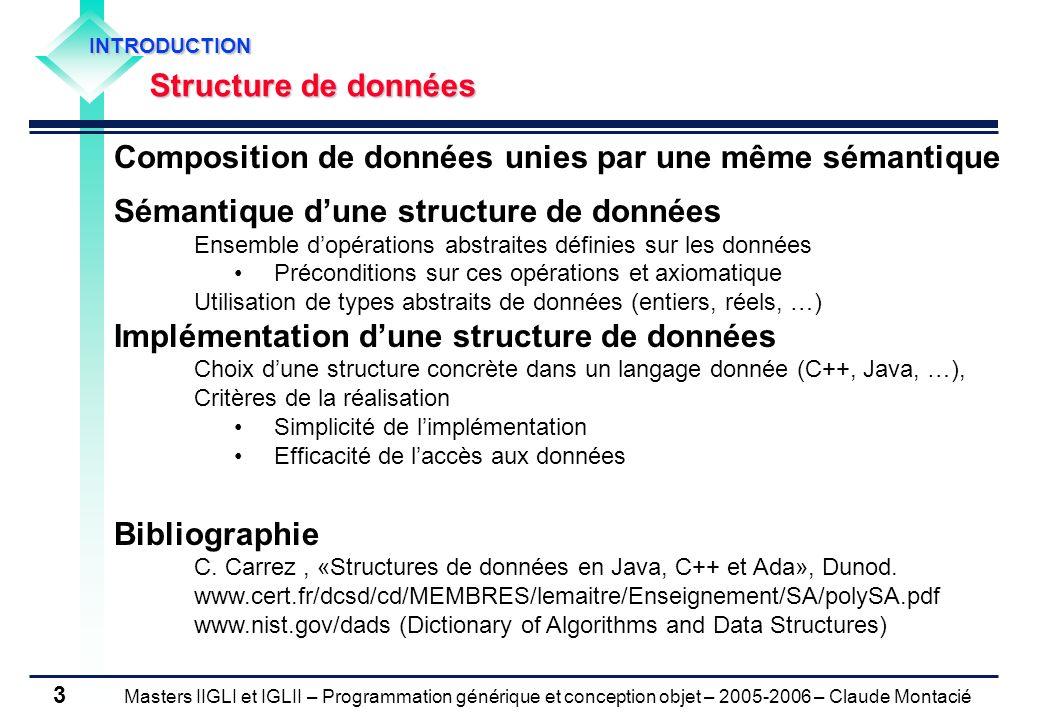 Masters IIGLI et IGLII – Programmation générique et conception objet – 2005-2006 – Claude Montacié 4 1.