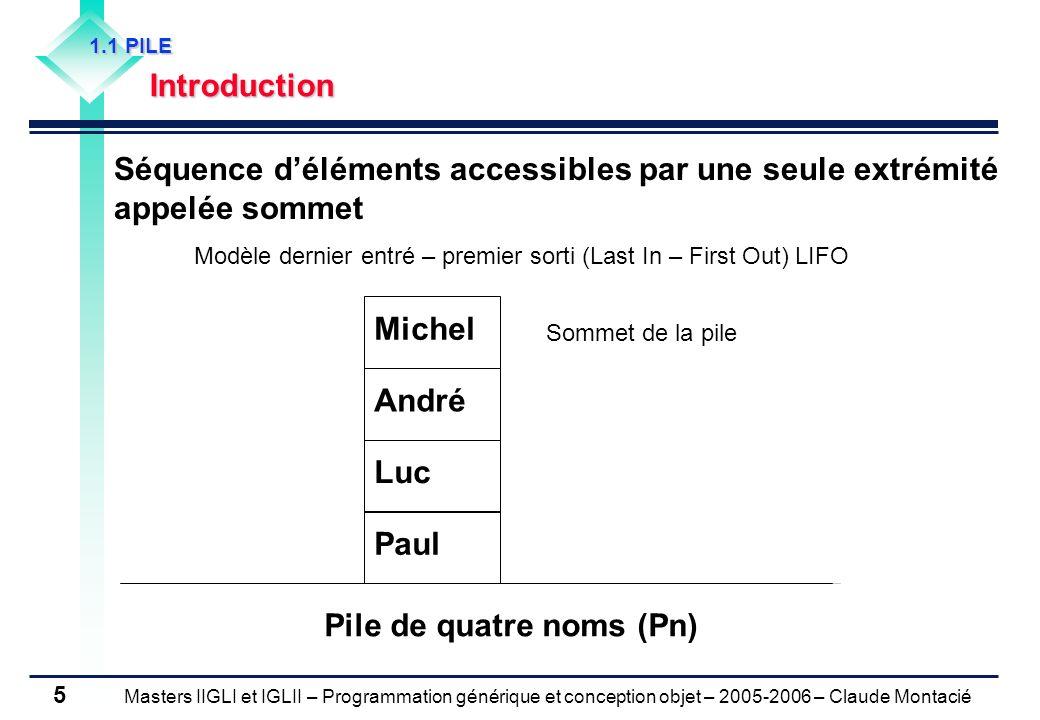 Masters IIGLI et IGLII – Programmation générique et conception objet – 2005-2006 – Claude Montacié 16 1.4 LISTE Exemple Création de la file Ln Ln := Listevide Insérer(Ln, André, 1) Insérer(Ln, Michel, 1) Insérer(Ln, Luc, 3) Insérer(Ln, Paul, 4) Suite dactions Supprimer(Ln, 1) Insérer(Ln, Jean, 2) Supprimer(Ln, 1) Supprimer(Ln, 2) e : = Lire(1) Question 1) Quelle est la valeur de lélément e .