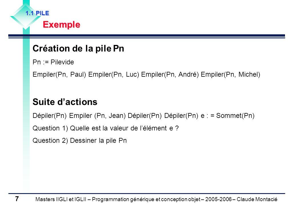 Masters IIGLI et IGLII – Programmation générique et conception objet – 2005-2006 – Claude Montacié 8 1.2 FILE Introduction Séquence déléments accessibles par deux extrémités appelées Tête et Queue (une en lecture, une en écriture) Modèle premier entré – premier sorti (First In – First Out) FIFO MichelAndréLucPaul Entrée de la file (Queue) File de quatre noms (Fn) Sortie de la file (Tête)