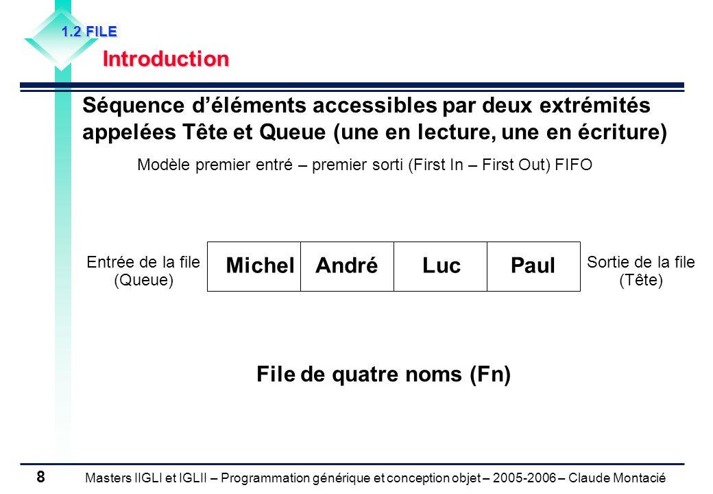 Masters IIGLI et IGLII – Programmation générique et conception objet – 2005-2006 – Claude Montacié 29 2.1 IMPLEMENTATION DUN GRAPHE Matrice dadjacence Matrice booléenne A de taille N×N A ij = 1 ssi l arc (i, j) est dans le graphe Taille : o( N 2 ) Matrice de poids W pour un graphe pondéré Avantages détection facile des boucles, de la symétrie ; test immédiat de l existence d un arc (i, j) ; énumération facile des prédécesseurs / successeurs.