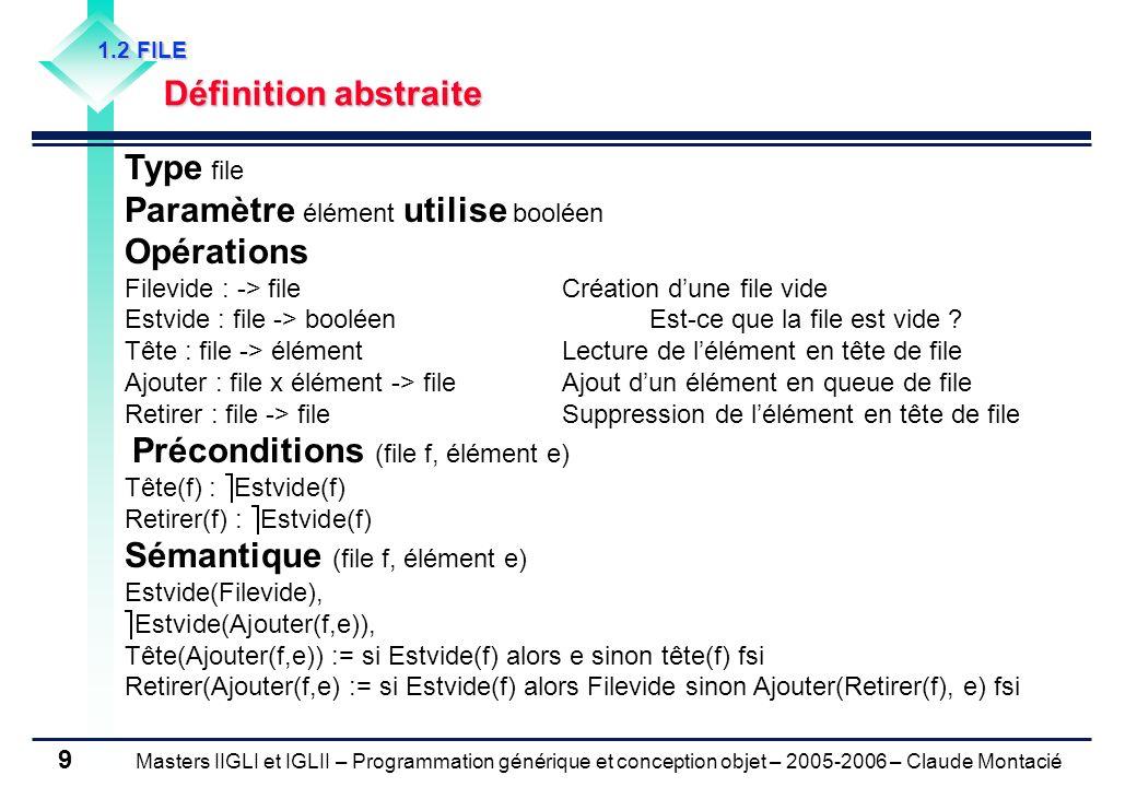 Masters IIGLI et IGLII – Programmation générique et conception objet – 2005-2006 – Claude Montacié 9 1.2 FILE Définition abstraite Type file Paramètre élément utilise booléen Opérations Filevide : -> fileCréation dune file vide Estvide : file -> booléenEst-ce que la file est vide .