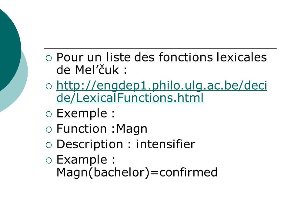 Pour un liste des fonctions lexicales de Melčuk : http://engdep1.philo.ulg.ac.be/deci de/LexicalFunctions.html http://engdep1.philo.ulg.ac.be/deci de/