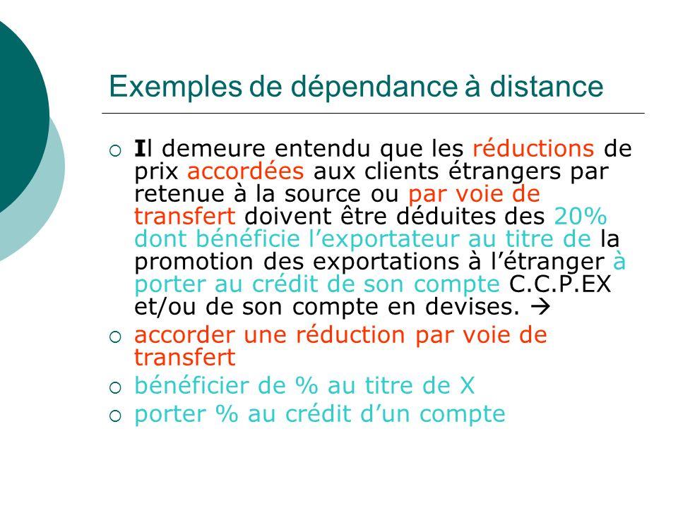 Exemples de dépendance à distance Il demeure entendu que les réductions de prix accordées aux clients étrangers par retenue à la source ou par voie de