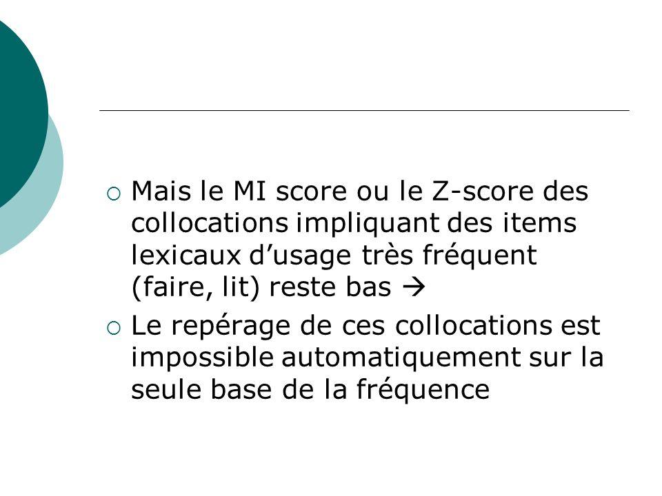 Mais le MI score ou le Z-score des collocations impliquant des items lexicaux dusage très fréquent (faire, lit) reste bas Le repérage de ces collocati