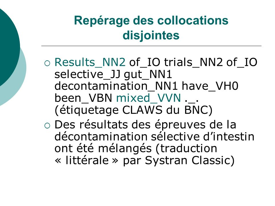 Repérage des collocations disjointes Results_NN2 of_IO trials_NN2 of_IO selective_JJ gut_NN1 decontamination_NN1 have_VH0 been_VBN mixed_VVN._. (étiqu