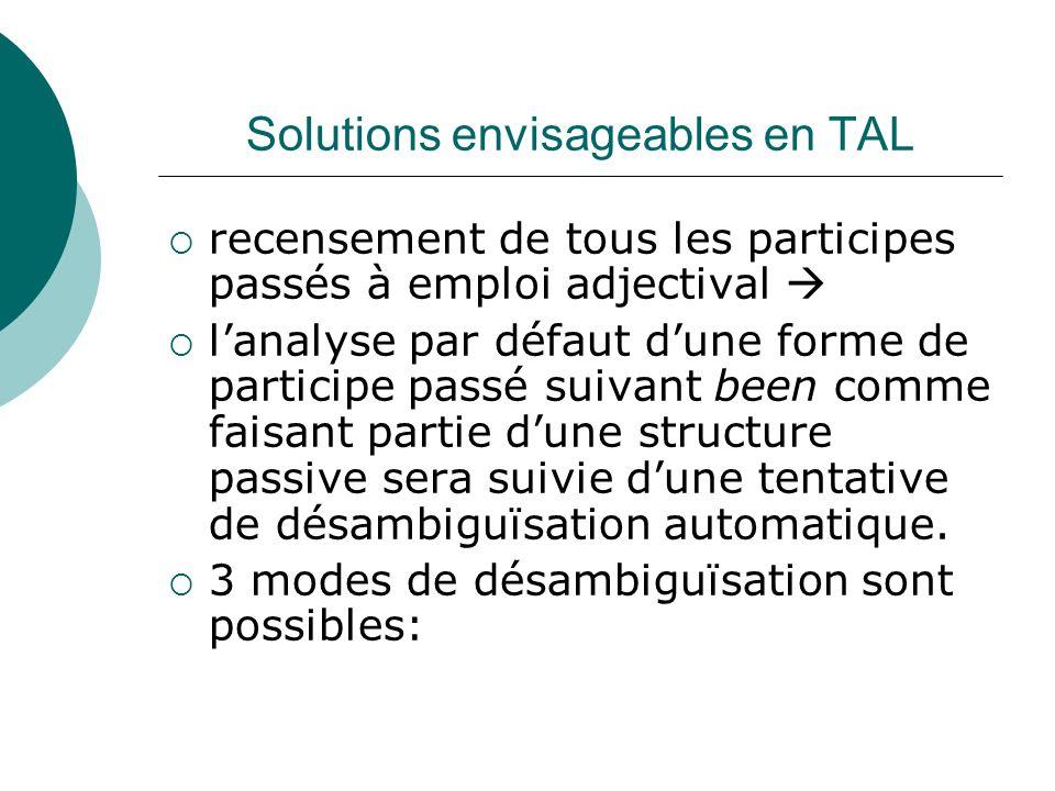 Solutions envisageables en TAL recensement de tous les participes passés à emploi adjectival lanalyse par défaut dune forme de participe passé suivant