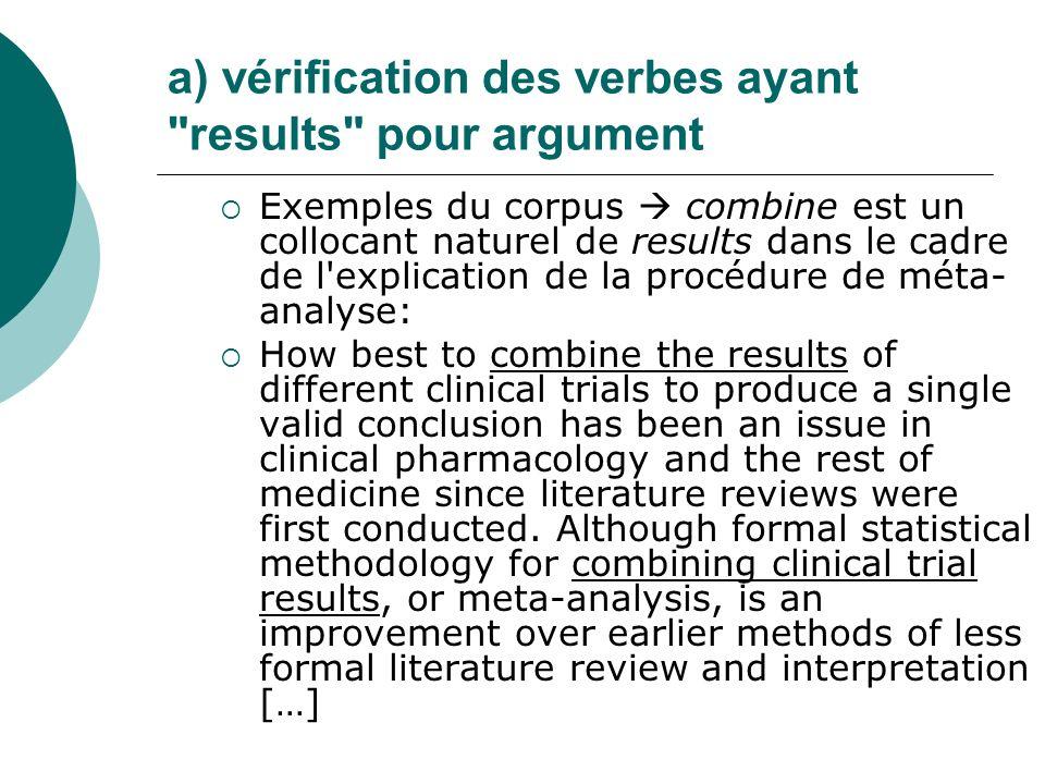 a) vérification des verbes ayant