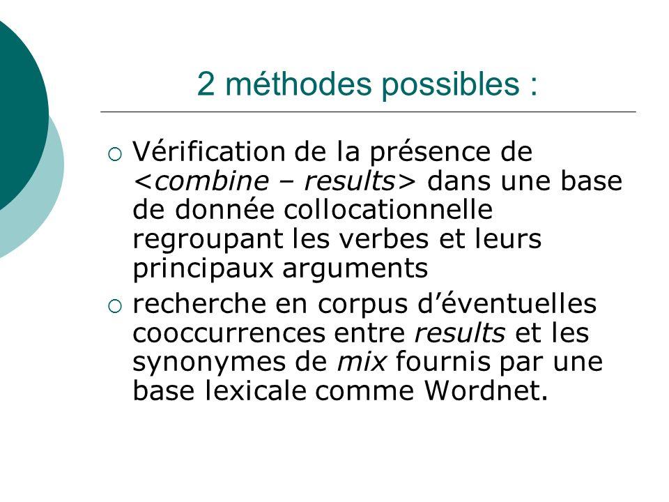 2 méthodes possibles : Vérification de la présence de dans une base de donnée collocationnelle regroupant les verbes et leurs principaux arguments rec
