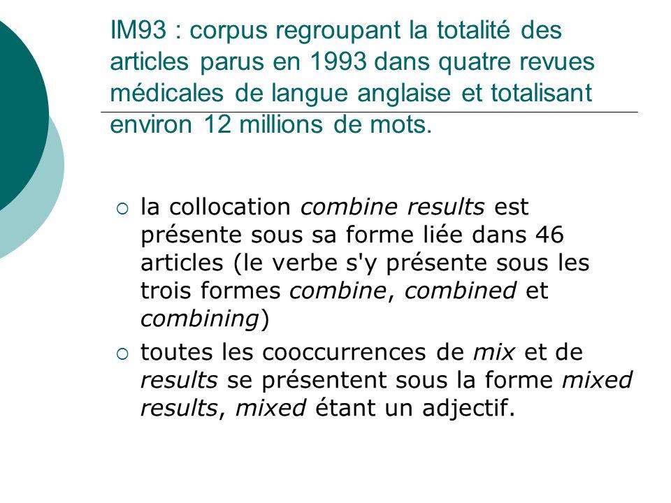 IM93 : corpus regroupant la totalité des articles parus en 1993 dans quatre revues médicales de langue anglaise et totalisant environ 12 millions de m