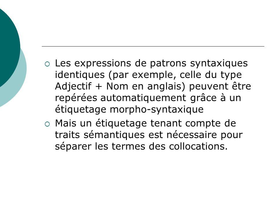 Les expressions de patrons syntaxiques identiques (par exemple, celle du type Adjectif + Nom en anglais) peuvent être repérées automatiquement grâce à