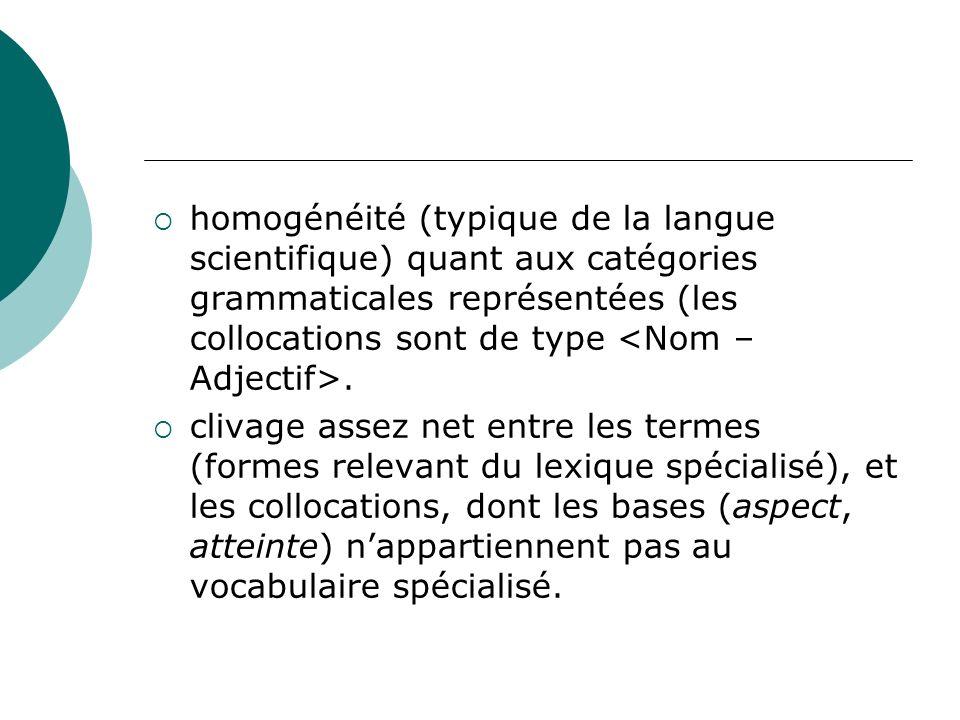 homogénéité (typique de la langue scientifique) quant aux catégories grammaticales représentées (les collocations sont de type. clivage assez net entr