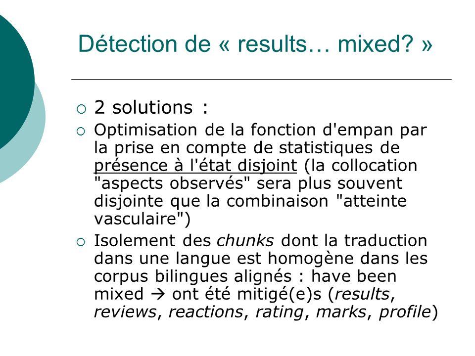 Détection de « results… mixed? » 2 solutions : Optimisation de la fonction d'empan par la prise en compte de statistiques de présence à l'état disjoin