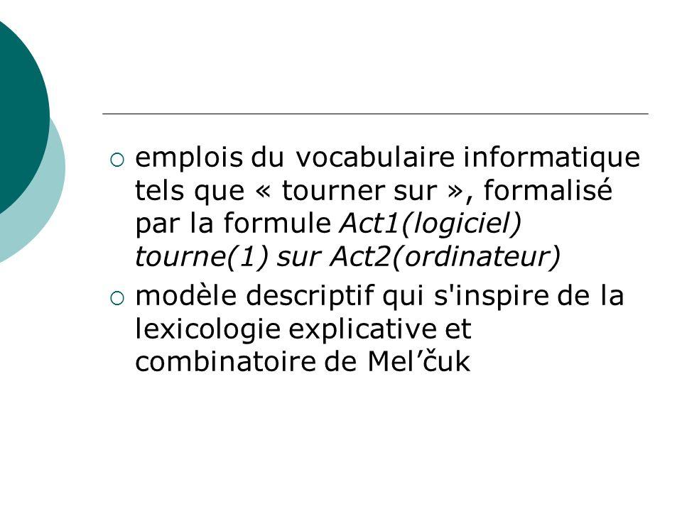 emplois du vocabulaire informatique tels que « tourner sur », formalisé par la formule Act1(logiciel) tourne(1) sur Act2(ordinateur) modèle descriptif