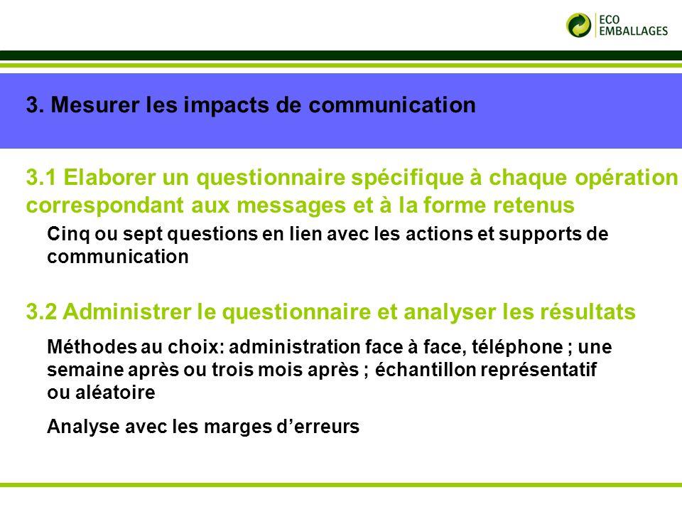 p. 11 3. Mesurer les impacts de communication 3.1 Elaborer un questionnaire spécifique à chaque opération correspondant aux messages et à la forme ret