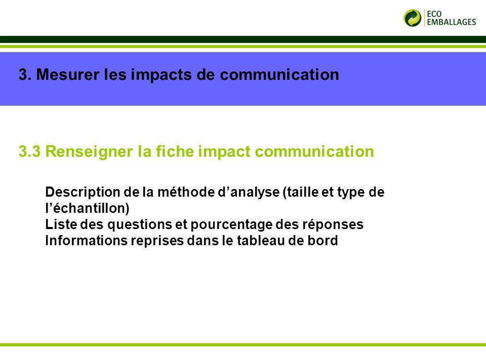 p. 12 3. Mesurer les impacts de communication 3.3 Renseigner la fiche impact communication Description de la méthode danalyse (taille et type de lécha