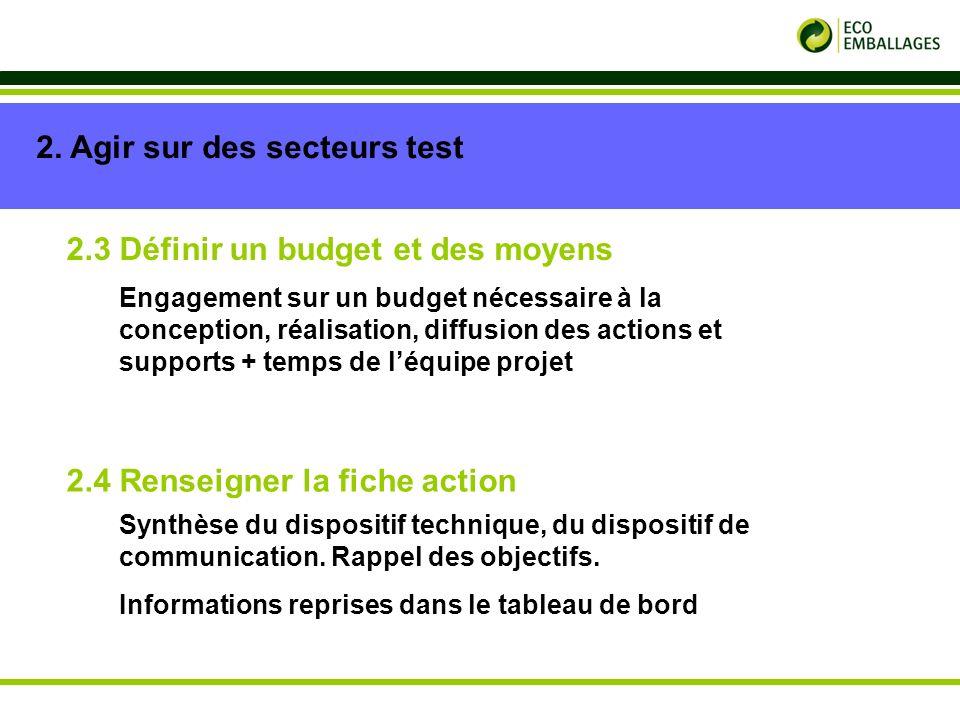 p. 9 2. Agir sur des secteurs test 2.3 Définir un budget et des moyens 2.4 Renseigner la fiche action Engagement sur un budget nécessaire à la concept