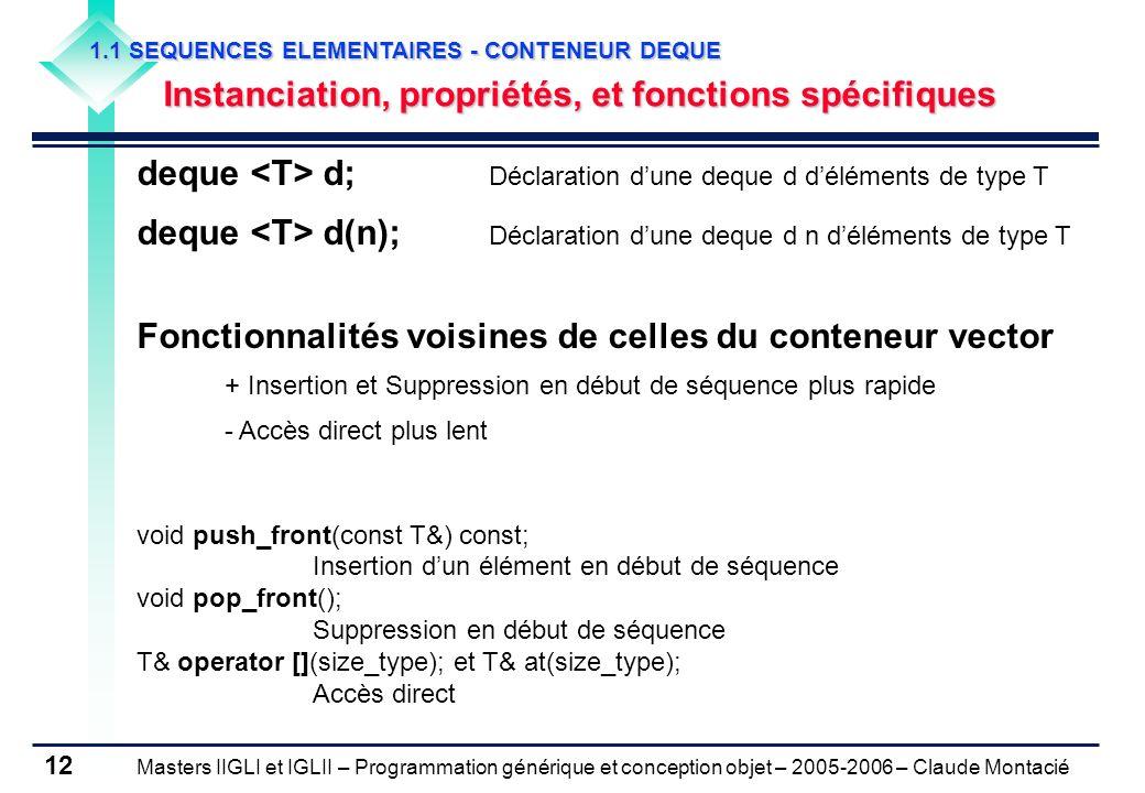 Masters IIGLI et IGLII – Programmation générique et conception objet – 2005-2006 – Claude Montacié 12 1.1 SEQUENCES ELEMENTAIRES - CONTENEUR DEQUE Ins