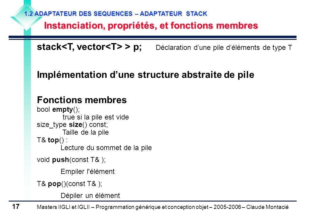 Masters IIGLI et IGLII – Programmation générique et conception objet – 2005-2006 – Claude Montacié 17 1.2 ADAPTATEUR DES SEQUENCES – ADAPTATEUR STACK