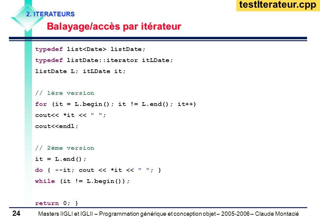Masters IIGLI et IGLII – Programmation générique et conception objet – 2005-2006 – Claude Montacié 24 2. ITERATEURS Balayage/accès par itérateur Balay