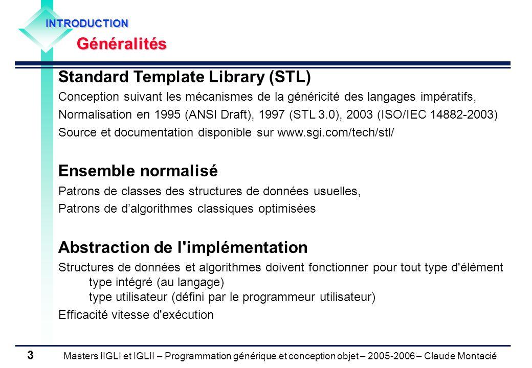 Masters IIGLI et IGLII – Programmation générique et conception objet – 2005-2006 – Claude Montacié 3 INTRODUCTIONGénéralités Standard Template Library
